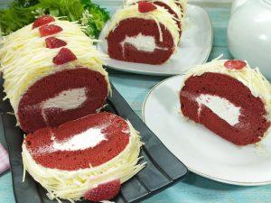 Resep bolu gulung red velver lembut dan moist, bolu gulung red velvet keju